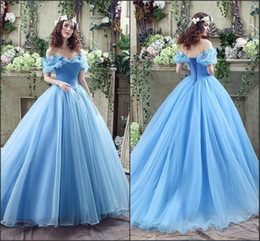 Wholesale Cinderella Plus Prom - Aqua Cinderella Quinceanera Dresses Princess Ball Gowns 2016 Real Image Off the Shoulder Lace-Up Back Full Length 16 Girls Prom Gowns CPS239