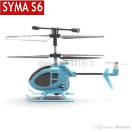 Wholesale Toy Helicopters Yellow Plastic - Free shipping 2014 New Syma S6 3CH RC Mini helicopter with GYRO remote control toys the world smallest helicopter