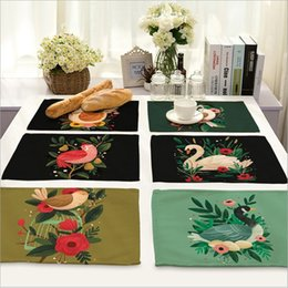 Wholesale Dishware Wholesale - Wholesale- Home Decor Cock and Bird Placemat Linen Fabric Table Mat Dishware coasters For Kitchen Accessories Wedding Party Decoration
