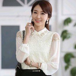 Wholesale Long Sleeve Body Shirt - Plus Size 2016 Spring Woman Shirt Long Sleeve Body Women Chiffon White Lace Blouses Tops Ladies Office Shirts Tropical T18221S