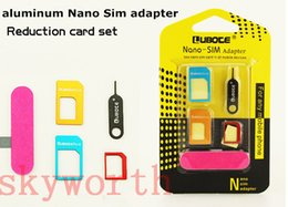 Wholesale Slim Card Mobile - New Aluminum Metal SIM Card Adapter Nano Slim Card to Micro & Standard Slim 5 in 1 with SIM Card Pin For All Mobile Phone Devices in Retail