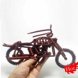 Wholesale Metal Handmade Car - Gift to send boys birthday gift Cars Crafts Cinnamon Color as Christmas present 175G New Handmade Gifts Handiwork Motorcycle Simulation
