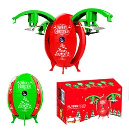 Wholesale Rotor Led - Christmas Egg Shaped Drone Quadrotors LED light Aerial Camera Flying Xmas Egg Camera Drones Sensor Remote Control Aircraft gifts for xmas