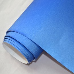 Wholesale Vehicle Wrap Free Shipping - 1.52x2m(5x7ft) car wrapping vinil film Blue air release steel brushed aluminum vinyl for vehicle color changing free shipping