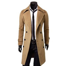 Wholesale Coat Clearance - Fall-Stock clearance Khaki grey woolen winter coat manteau homme men long trench coat formal business jackets abrigos free ship ST575