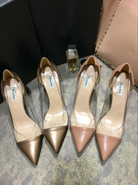 Wholesale Vogue Careers - Vogue fashion sexy summer shoes transparent with leahter pointed toes high heels shoes