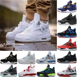 Wholesale Retro White Cement - 2017 air retro 4 Basketball Shoes men retro 4s Pure Money Royalty White Cement Premium Black Bred Fire Red Sports Sneakers size 8-13