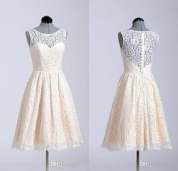Wholesale Short Party Dresses For Juniors - Lace Bridesmaid Dresses 2016 A Line Short Coral Lavender Knee Length Custom Made In Stock For Wedding Party Cheap