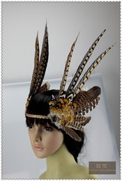 Wholesale Burlesque Hats - feather Headdress dancing burlesque headdress halloween headdress supply dancing supply 12inch full high costume supply feather hat