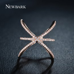 Wholesale Ring X Shape - Wholesale-ZOEVON 2015 New Style Trendy Womens Mid Finger Ring Female Criss Ring X Shape with Micro Paved Cubic Zriconia Stone