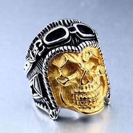 Wholesale Titanium Skull Mens Rings - Fashion Gothic Ring Stainless Steel Rings For Mens Big Pilot Skull Ring Punk Biker Jewelry Size 7-13