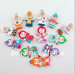 Wholesale Polymer Clay Making - 100Pcs Mixed Polymer Fimo Clay Girl Boy Charms Pendants For Bracelet Necklace Fashion Jewelry Making DIY Accessories Girls Bijoux NEW D052