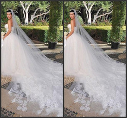 Wholesale Kardashian Lace - Bridal Veils Kim Kardashian New Best Sale Charming White & Ivory One Tiered Cathedral Bride Wedding Veil Custom 3 Meters Lace