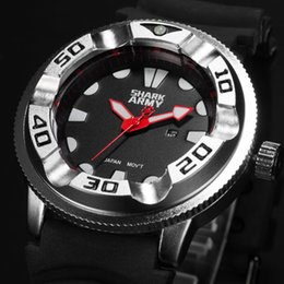 Wholesale Electroplating Battery - New Shark Army Date Display Electroplate Case Outdoor Sport Red Hands Calendar Silicone Band Men Quartz Military Watch   SAW103
