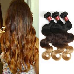 Wholesale Modern Hair Show - Mongolian Human Hair 1B 4 27 Ombre Body Wave Bundles With Closure 3 Bundles With Lace Closure Modern Hair Show Bundles And Closure