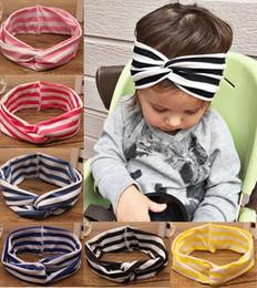 Wholesale Leather Turban - 2017 cotton headband women crossed headband elastic turbans stripe hairband girls hai accessories headband for girls YWXM