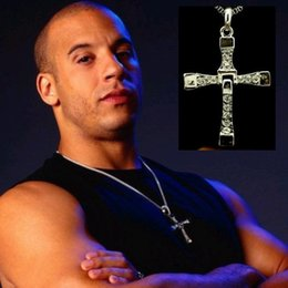 Wholesale Dominic Toretto Silver - 10 pieces lot Alloy diamond FAST and FURIOUS Dominic Toretto Cross Pendant Necklace 60CM high -quality silver-plated necklace