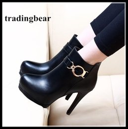 Wholesale Trendy Motorcycle Boots - Trendy Black PU Leather Buckle Platform Pumps Sexy High Heels Women Ankle Boots 11cm Size 34 to 39