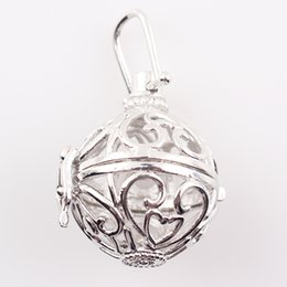 Wholesale Wholesale Silver Floating Charm Locket - 9 Styles Harmony Bola Pendant Hollow Cage Baby Caller Locket Aromatherapy Perfume Diffuser Float Locket Wholesale C70