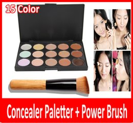Wholesale Cheap Professional Brushes - Cheap 2015 professional New 15 Colors Concealer Palette Contour Face Cream Makeup Camouflage Concealer Palette Powder Brush