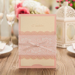 Wholesale Birthday Party Brown Pink - New Creative Personlized Wedding Invitation Flat Cards Pink Brown Color With Lace Flora and Bowknot in Waist custom quote Continental