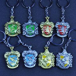 Wholesale Fan Rings - Enamel Harry Hogwarts School Gryffindor Slytherin Hufflepuff Ravenclaw Keychain Key rings Potter Fans Fashion Jewelry BLISTER RETAIL PACKING