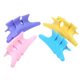 Wholesale Plastic Butterfly Hair Clamps - Wholesale-2015 Plastic Colorful Hair Clips Hairdressing Tool Butterfly 12pcs Hair Claw Salon Section Clip Clamps Styling Tools
