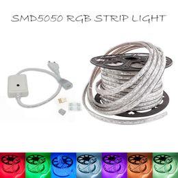 Wholesale Led Strip Light 8mm Waterproof - 50M lot High Voltage 220V RGB 5050 SMD 8mm PCB LED strip light waterproof IP67 60leds m + free IR remote power supply