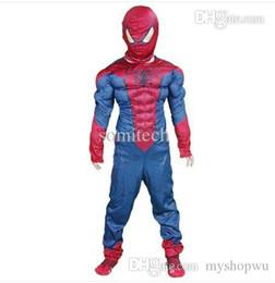 Wholesale Kids Fancy Dress Costumes Boys - Wholesale-spiderman costume for kids boy super hero anime carnival children's fancy dress superhero cosplay high qualtity Birthday Gift