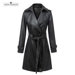 Wholesale Women S Down Coat Belt - Wholesale-2016 Fashion Women Faux Leather Trench Coat Turn Down Collar Long Leather Jacket With Belt YN-3821