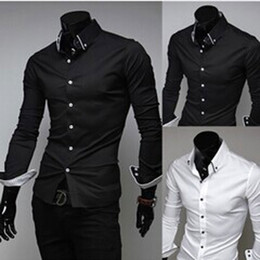 Wholesale Men Office Shirts - hot New Fashion Men Casual Slim Fit Long Sleeve Button Down Shirts Dress Office Free shipping