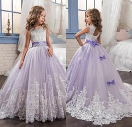 Wholesale Glamorous Flower Girl Dress - Glamorous Kids Beauty Pageant Dresses Lanvender Lace Appliques Bow Beaded Flower Girl Dresses Lace-Up Vestidos De Comunion Kids Formal Wear