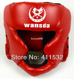 Wholesale Muay Thai Guard - Free shipping RED BLACK dark Blue Closed type boxing head guard Sparring helmet MMA Muay Thai kickboxing brace Head protection HE-29