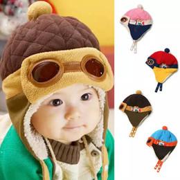 Wholesale Toddler Ear Muffs Winter - 4 Colors Toddlers Cool Baby Boy Girl Kids Infant Winter Pilot Aviator Warm Cap Hat Beanie Ear Flap Soft Hat c126 BM107