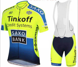 Wholesale Saxo Bank Cycling Jersey Sets - 2015 Cycling Jersey Bike Suit Pro Cycling Jersey Tinkoff Saxo Bank Fluo Color Cycling Jersey + Short Bib Pants Cycling Jersey Set