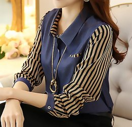 Wholesale Stripe Shirt Plus - Top fashion women plate shirt long-sleeve blouses shirt turn-down collar slim stripe patchwork chiffon shirt plus size S-4XL