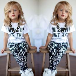 Wholesale Baby Zebra Pants - 2016 Baby Girls Zebra-stripe White T-Shirt+Pants Two-pieces Outfits Set 2-7Y 100% Cotton 5 S l Free Shipping