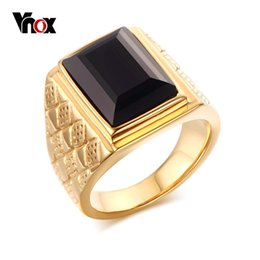 Wholesale Men Ring Design Stone - Wholesale- Vnox Men Black Stone Wedding Bands Rings Rhombus Design Engagement Promise Ring Jewelry