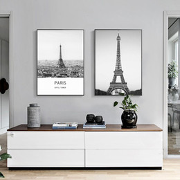 Wholesale Decorative Figure Painting Oil - 2 paintings black and white Eiffel Tower home decorative painting wall art painting fashion murals