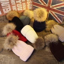 Wholesale Knit Cloche - 2017 winter fashion raccoon faux fur pom pom knitted beanie bonnet hat warm skuilles hats caps for women Parent child cap