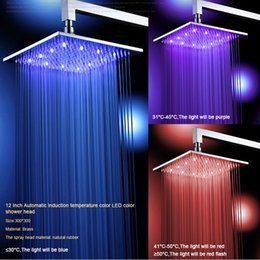 Wholesale Wall Mount Overhead Shower Heads - Freeshipping 12'' (12 Inch) Bathroom square overhead LED rainfall shower head with shower arm cold & hot LED121200A