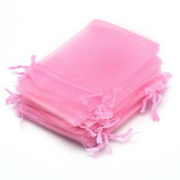 Wholesale Gauze Jewelry Bags - Wholesale- AYHF-24pcs Gauze Jewelry Wedding Candy Favor Gift Bag Pouch Pink 9x12cm