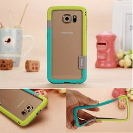 Wholesale Iphone Case Bumper Silicon - Dual Color soft Gel Silicon Frame Bumper border Case Protective cover Cases For iPhone 5 6 5.5 Galaxy s6