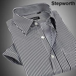 Wholesale Blue White Stripe Dress - Wholesale-Men Business Shirts New Style Stripe and Jacquard Short-sleeve Business Dress Shirts For Men M0167