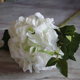 """Pétales de fleurs de soie verte en Ligne-Soie Tige Simple Hortensia 46cm / 18.11 """"Fleurs Artificielles Fleurs De Bohême Hortensias Double Pétales avec Feuille Verte"""