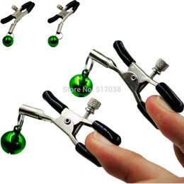 Wholesale Cheap Costumes For Sex - w1031 Cheap Sexy steel metal nipple clamps clips with singel bell adult costume game fetish flirting teasing sex toys for women men