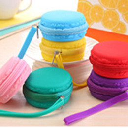 Wholesale Gel Candy Purses - Wholesale-New silicone gel waterproof macaron colorful candy creative Coin Purses wallet key zipper change bag Christmas gifts 050010-1