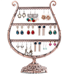 Wholesale Vintage Metal Rack - Vintage Black Copper Earrings Holder Stud Earrings Drop Earrings Display Rack Jewelry Display Stand Shelf AF