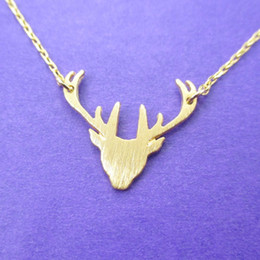 Wholesale Deer Charm Pendant - 10pcs lot Stag Silhouette Deer Shaped Animal Charm Wholesale Necklace for women Simple Handmade Animal Jewelry XL133