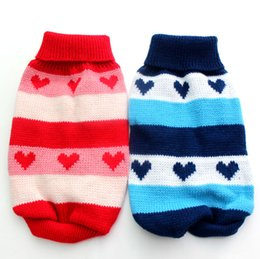 Wholesale Wholesale Heart Jumpers - Wholesale-Red Blue Stripe dog sweater with hearts design,Pet Coat Clothes Jumper